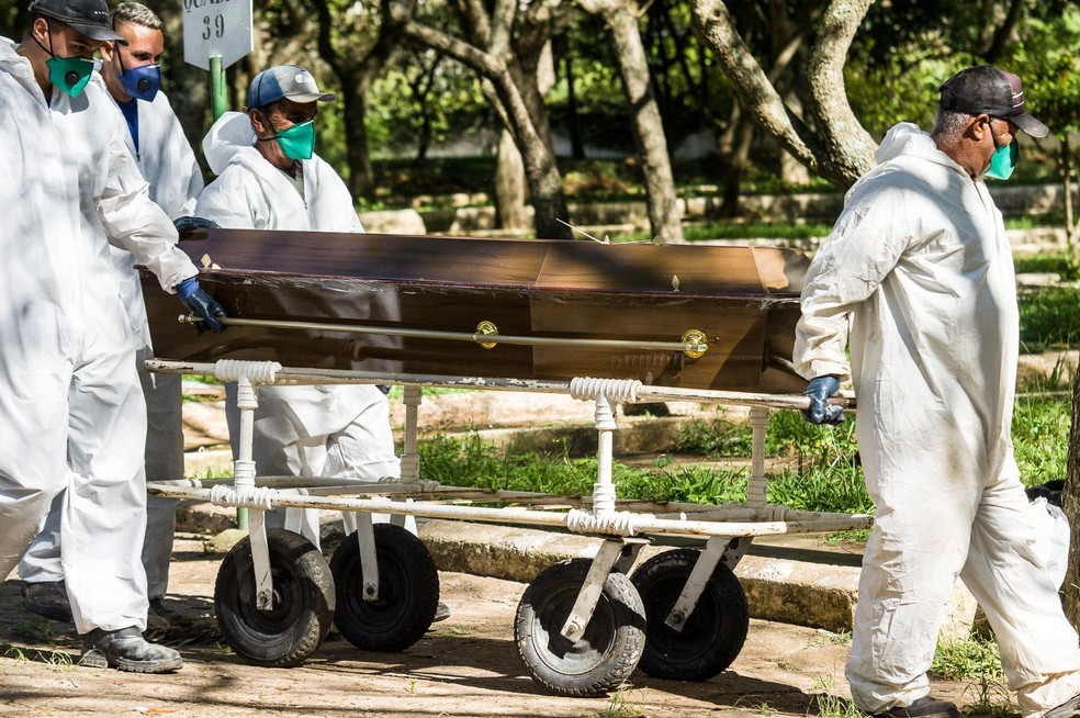 Sepultamento de vítima de Covid-19 — Foto: ROBERTO SUNGI/FUTURA PRESS/ESTADÃO CONTEÚDO