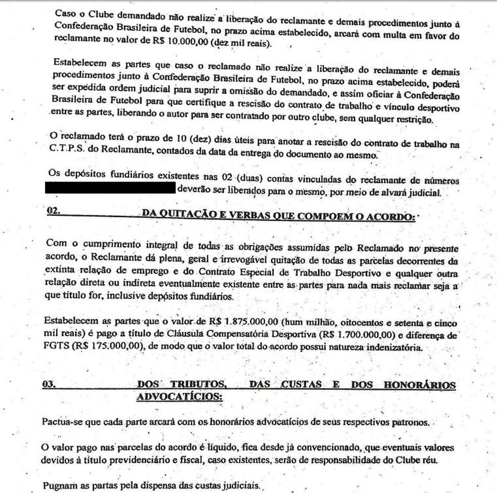 Segundo trecho do acordo entre Sport e Magrão — Foto: Reprodução