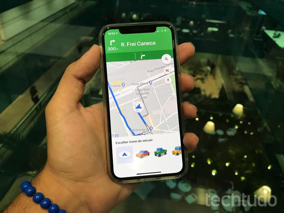 Google Maps permite usar carrinhos coloridos para acompanhar os trajetos no mapa — Foto: Eduardo Manhães/TechTudo