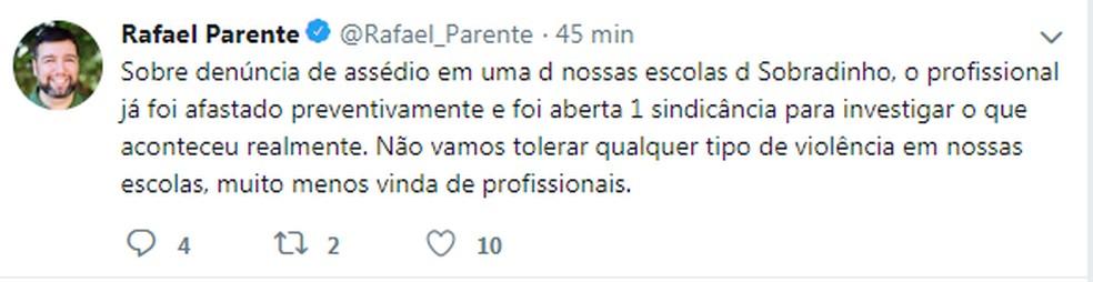 Secretário de Educação do DF, Rafael Parente, comenta denúncias de assédio de PM contra estudante do CED 03 — Foto: Twitter/Reprodução