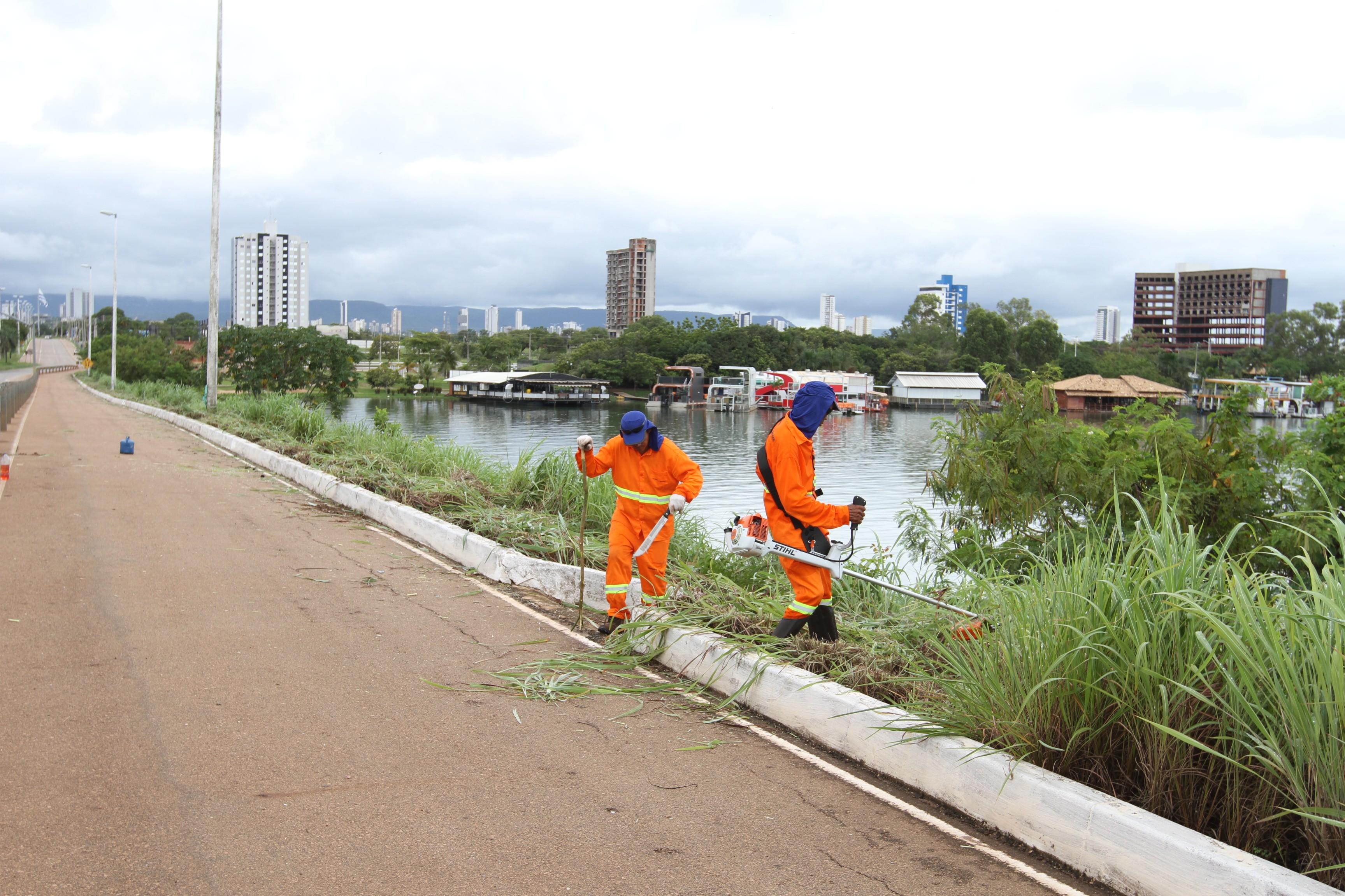 Matagal começa a ser roçado na Ponte FHC após reclamações de moradores