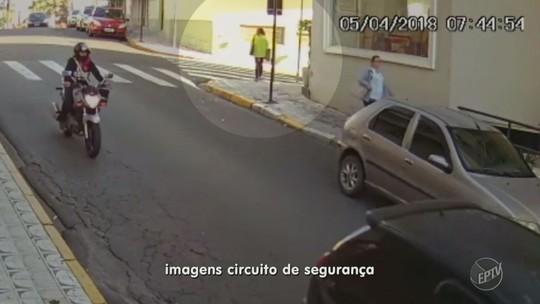 Vídeo mostra atropelamento de idosa de 70 anos no centro de Serra Negra