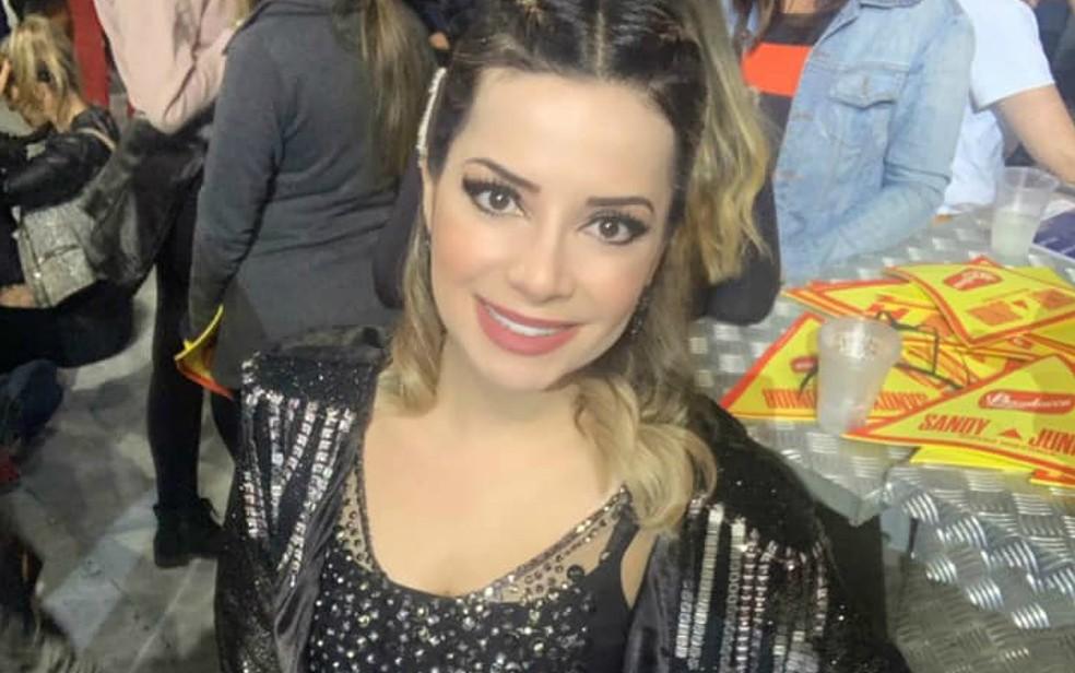 Natiare Azevedo curte o show da turnê 'Nossa História' com Sandy & Junior — Foto: Arquivo Pessoal