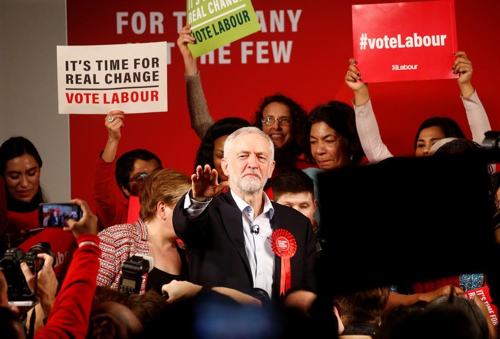 Jeremy Corbyn durante seu evento final de campanha, em 11 de dezembro de 2019 — Foto: Henry Nicholls/Reuters