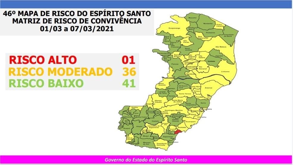 46º Mapa de Risco Covid-19 do governo do ES — Foto: Divulgação/Governo do ES