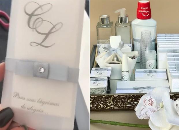 Lenços e itens de higiene personalizados com as iniciais do casal (Foto: Reprodução/Instagram)