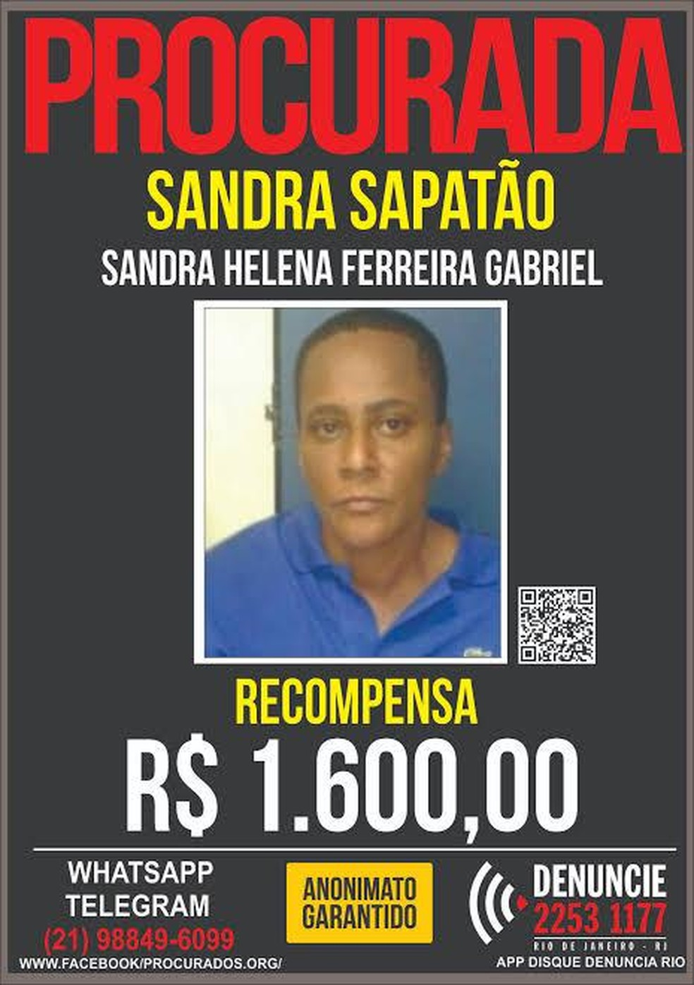Cartaz do Portal dos Procurados oferecia recompensa por informações sobre Sandra — Foto: Divulgação