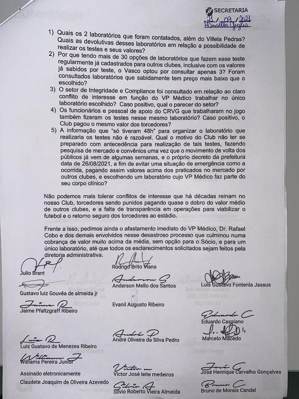 Carta de conselheiros do Vasco sobre contratação de laboratório - Parte 2 — Foto: Reprodução