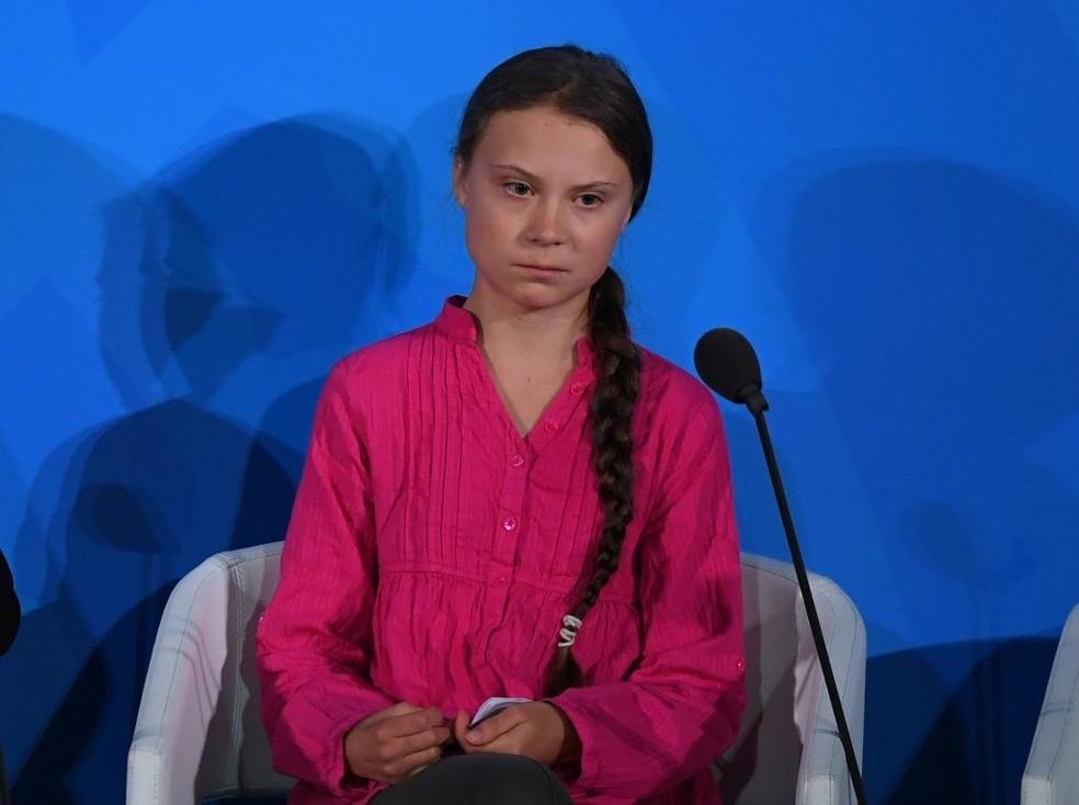 Ativista sueca Greta Thunberg discursou na Cúpula do Clima da ONU nesta segunda (23). — Foto: Timothy A.Clary/AFP
