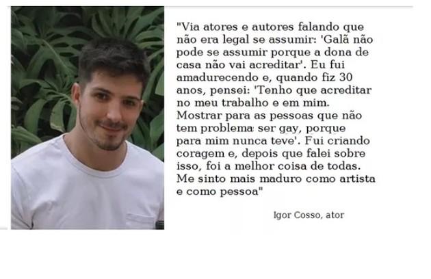 Igor Cosso se declara gay. O ator faz parte do elenco de 'Salve-se quem puder' (Foto: Reprodução)