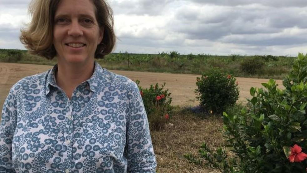 Tricia Wallace largou o emprego no mercado financeiro para investir na fazenda (Foto: BBC)