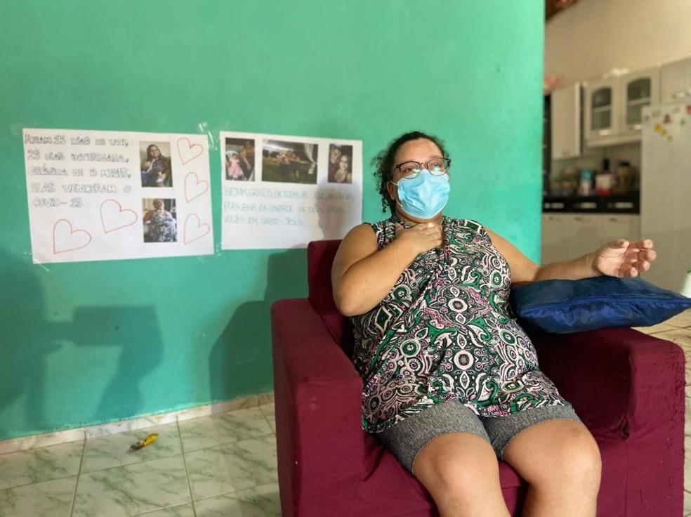 Maria Alexandra ficou dez dias intubada com Covid-19 na UTI do Hospital São Vicente, em Barbalha. — Foto: Lorena Tavares/ SVM
