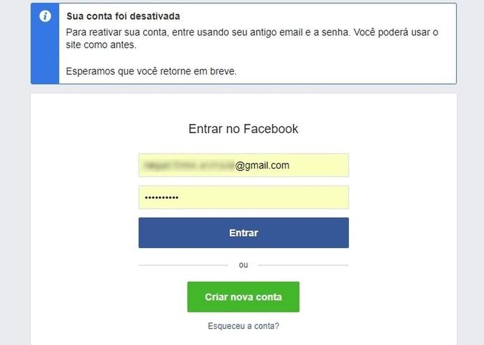 Conta do Facebook desativada temporariamente (Foto: Reprodução/Raquel Freire)