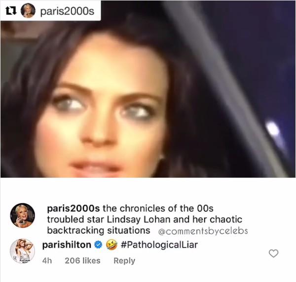 O post no Instagram no qual Paris Hilton chamou a atriz Lindsay Lohan de mentirosa patalógica (Foto: Instagram)