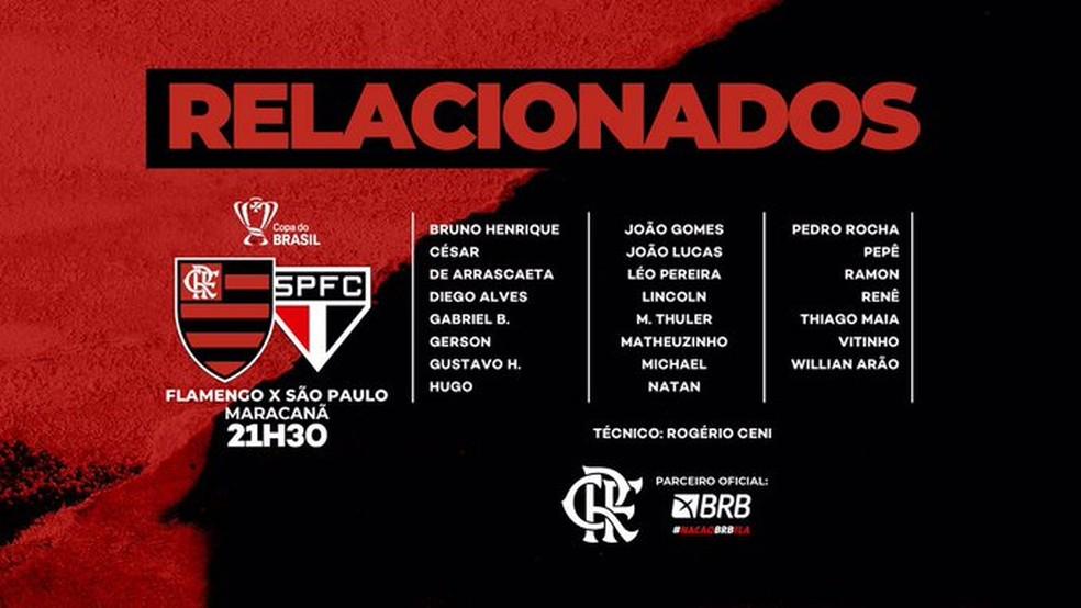 Relacionados do Flamengo para a partida contra o São Paulo, pela Copa do Brasil — Foto: Divulgação