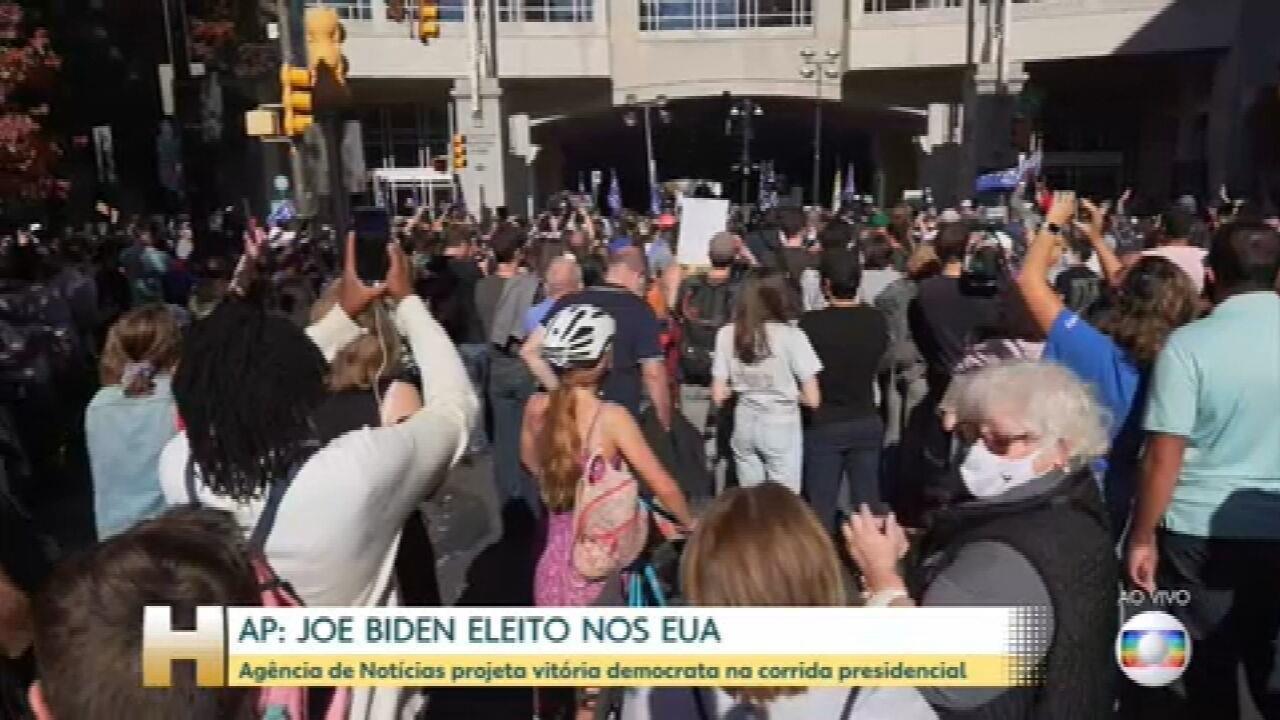 Veja as comemorações da vitória de Biden na Filadélfia