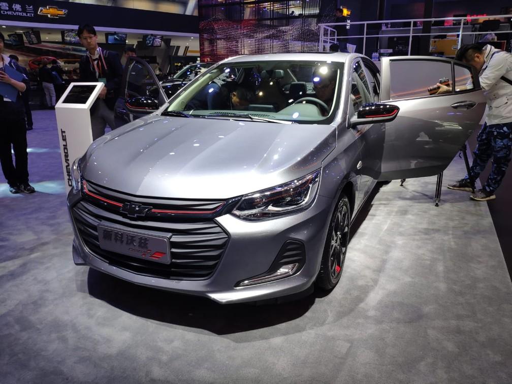 Nova geração do Chevrolet Prisma em Xangai — Foto: André Paixão/G1