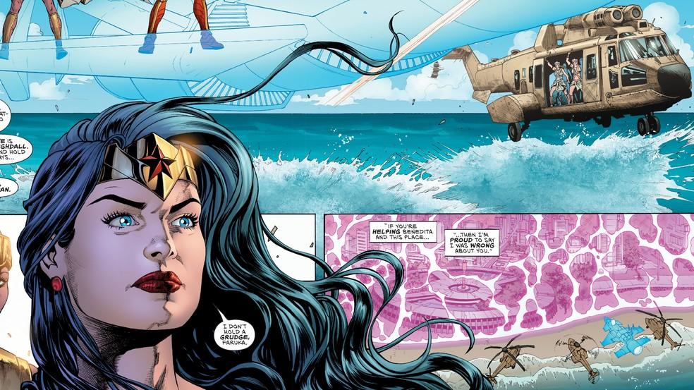 Mulher-Maravilha desembarca próximo a uma representação do Hotel Tambaú em revista mais recente da super-heroína — Foto: Reprodução/DC Comics