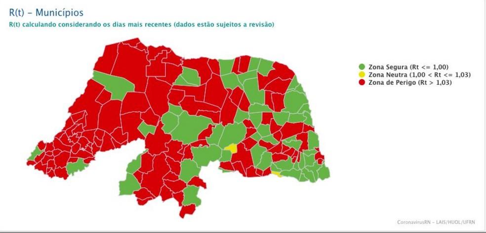 """Pelo menos 111 municípios estão em """"zona de perigo"""" por causa da taxa de transmissibilidade da Covid-19. — Foto: Lais/UFRN/Reprodução"""