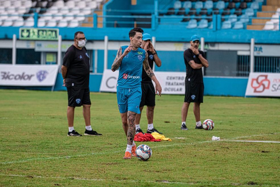 Rildo em treino pelo Paysandu nesta terça-feira (20) — Foto: Jorge Luís Totti/Ascom Paysandu