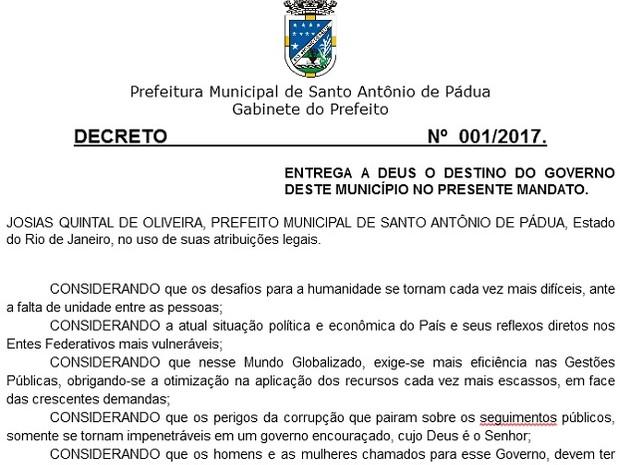 Primeiro decreto do prefeito de Santo Antônio de Pádua foi entregar a cidade a Deus (Foto: Portal da Transparência Santo Antonio de Pádua/Reprodução)