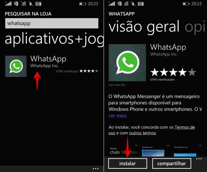 Instalando o WhatsApp no Windows Phone (Foto: Reprodução/Helito Bijora)
