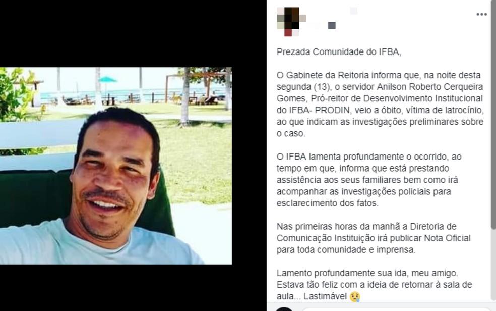 Pró-reitor foi encontrado morto dentro do apartamento que morava, com marcas de tiro e perfurações por arma branca (Foto: Reprodução/Redes Sociais)