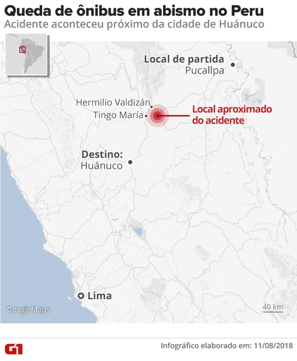 -  Localização aproximada do acidente de ônibus no Peru.  Foto: Alexandre Mauro/G1