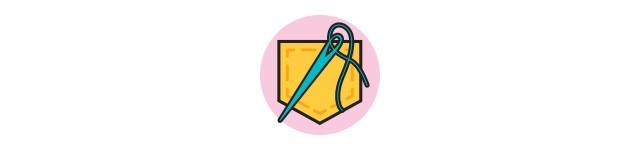 Ícone de bolso e agulha com linha (Foto: Ícone de bolso e agulha com linha (Ilustração: Flaticon))