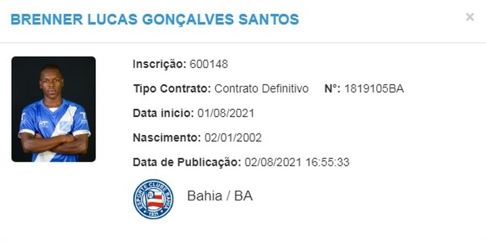 Contrato de Brenner com Bahia já consta no BID — Foto: Reprodução