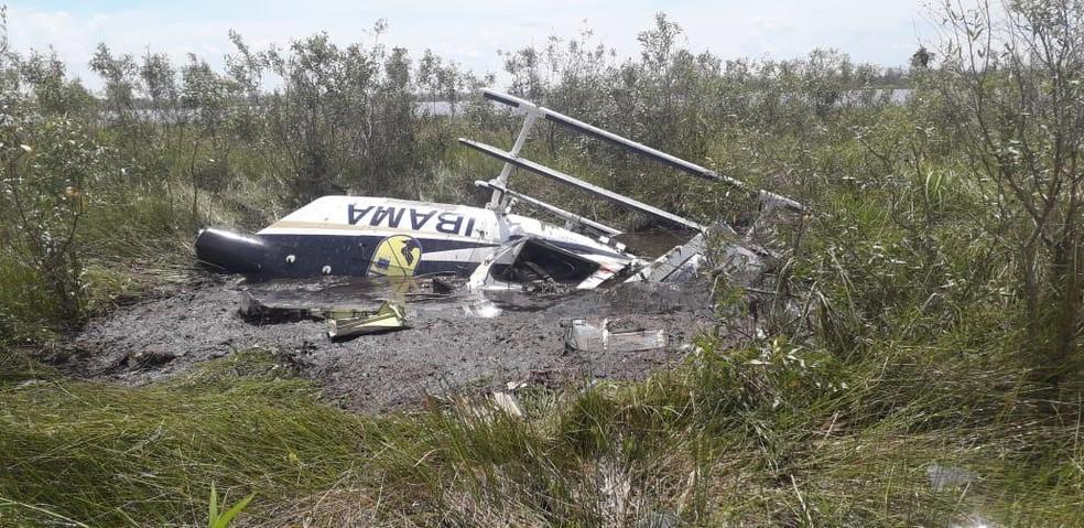 Helicóptero usado no combate a incêndios caiu no Pantanal — Foto: Divulgação