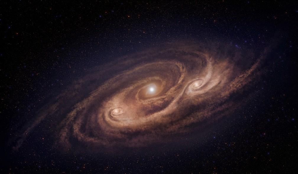 Concepção artísitca da supergaláxia COSMOS-AzTEC-1 (Foto: Observatório Nacional Astronômico do Japão)