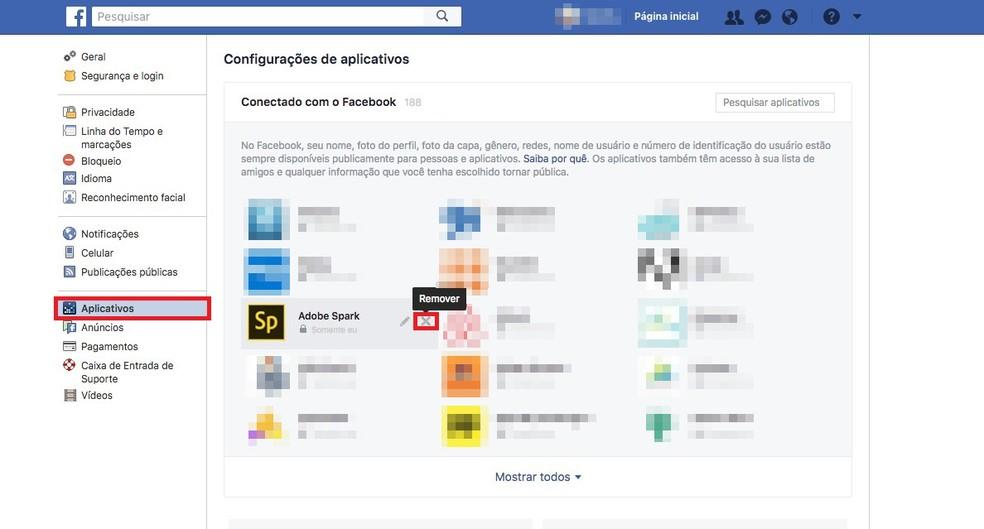 Para remover aplicativos no Facebook, atualmente, é preciso abrir as Configurações da rede social (Foto: Reprodução/Nicolly Vimercate)