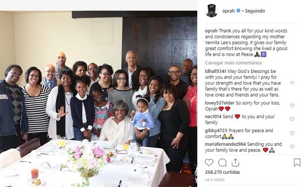 Oprah Winfrey agradece carinho de fãs após morte da mãe (Foto: Reprodução/Instagram)