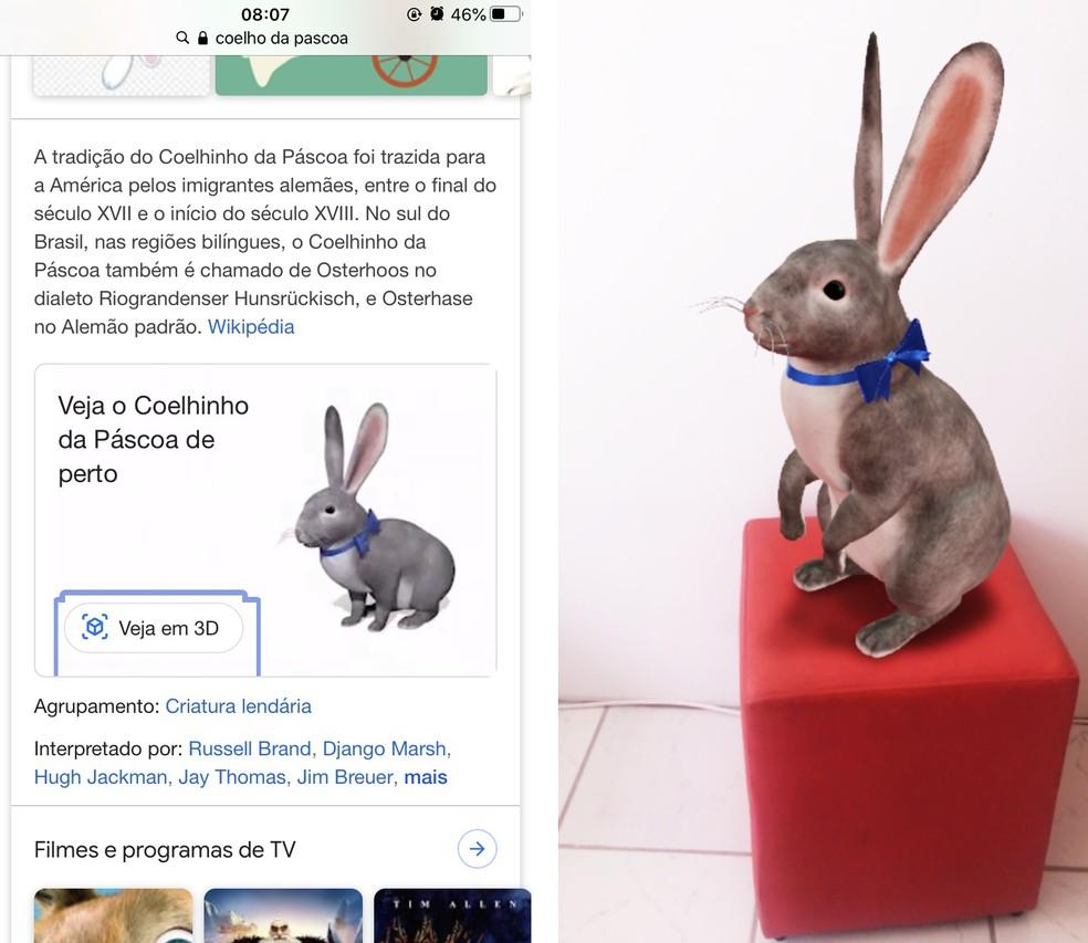 Coelhinho da Páscoa foi exibidosem 3D no Google durante a última Páscoa — Foto: Reprodução/Rodrigo Fernandes