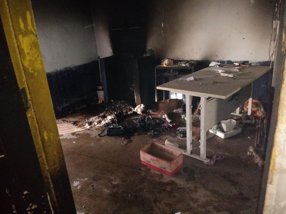 Área administrativa do presídio foi danificada durante rebelião na Major César — Foto: Divulgação/Sinpoljuspi