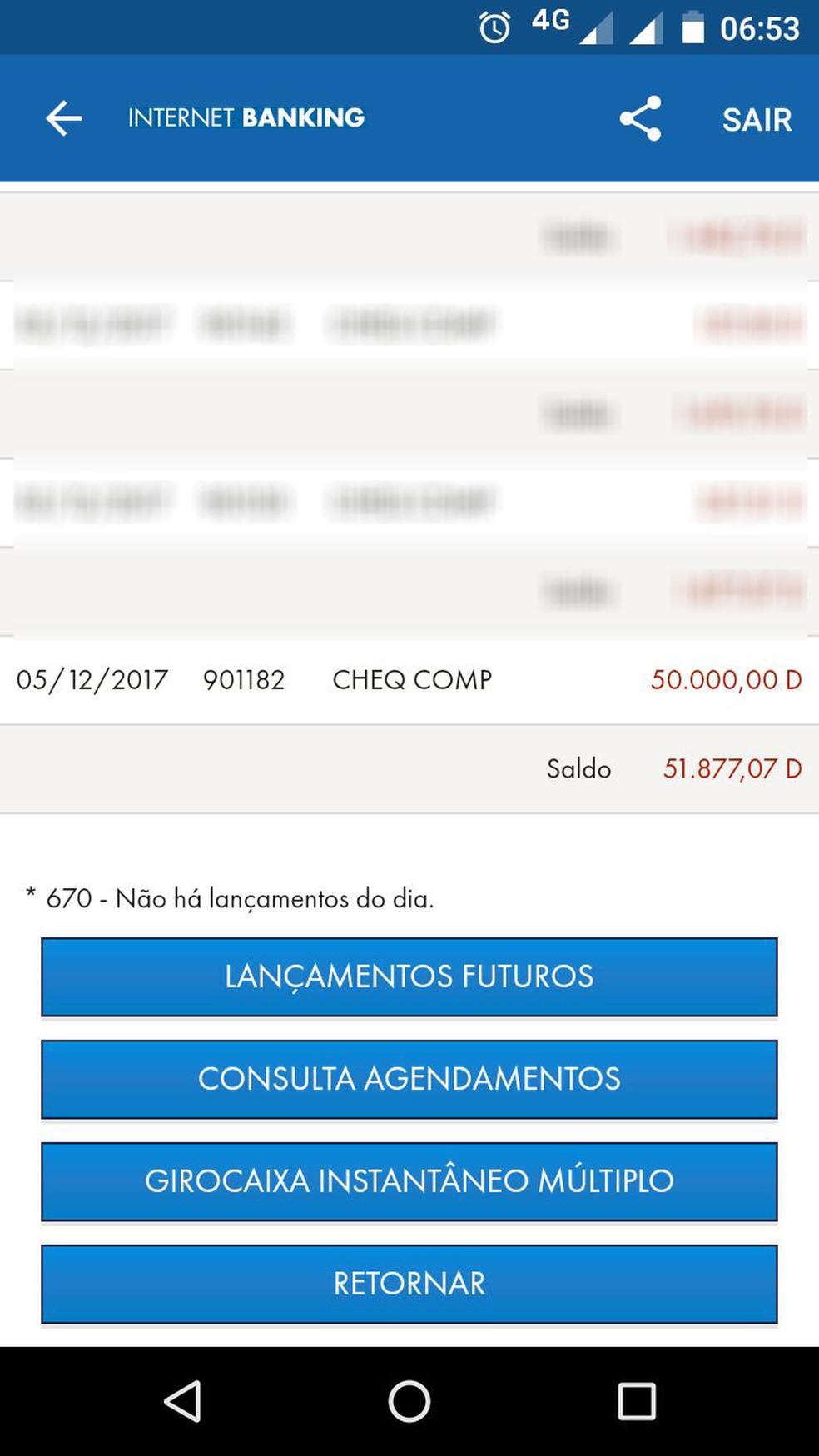 Comerciante verificou que saldo da conta estava negativo em mais de R$ 51 mil (Foto: Adriano Praxedes/Cedida)