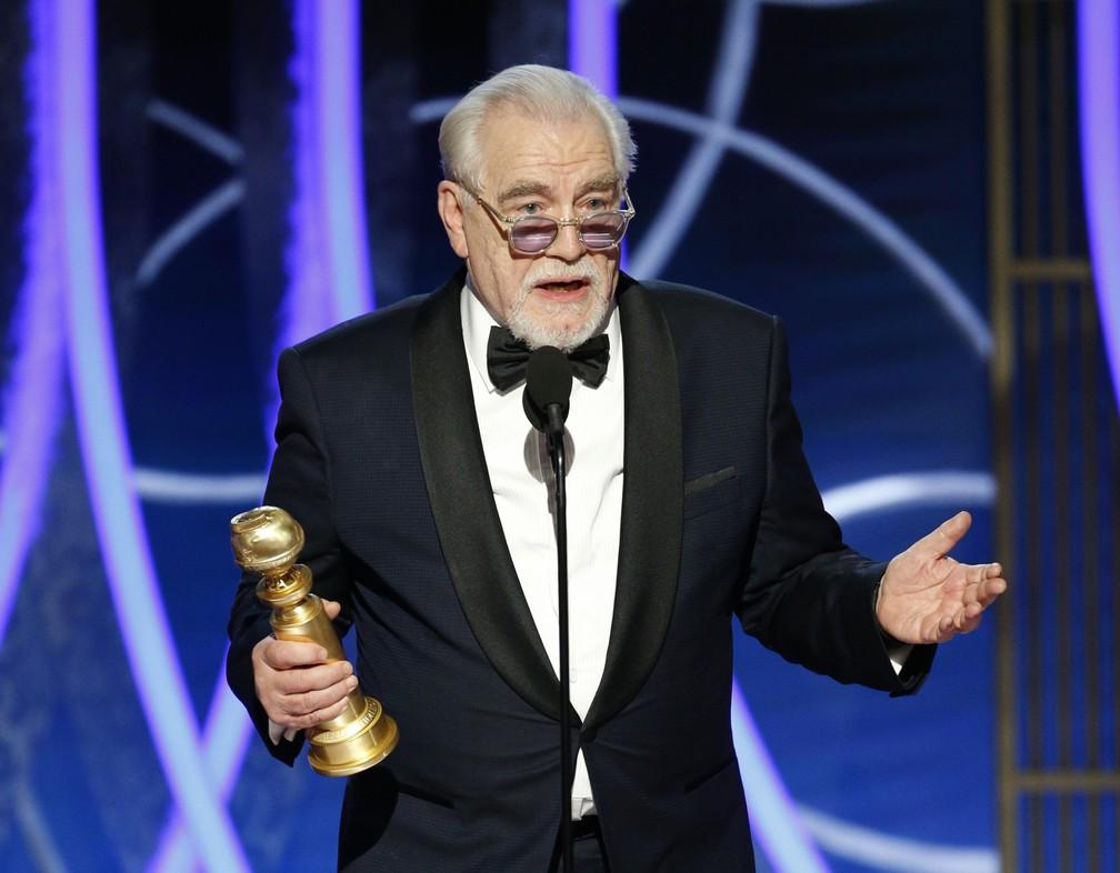 """Brian Cox vence Globo de Ouro de melhor ator em série de TV (Drama) por """"Succession"""" — Foto: Paul Drinkwater/NBC via AP"""