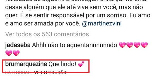 Bruna Marquezine comentou na declaração (Foto: Instagram/Reprodução)