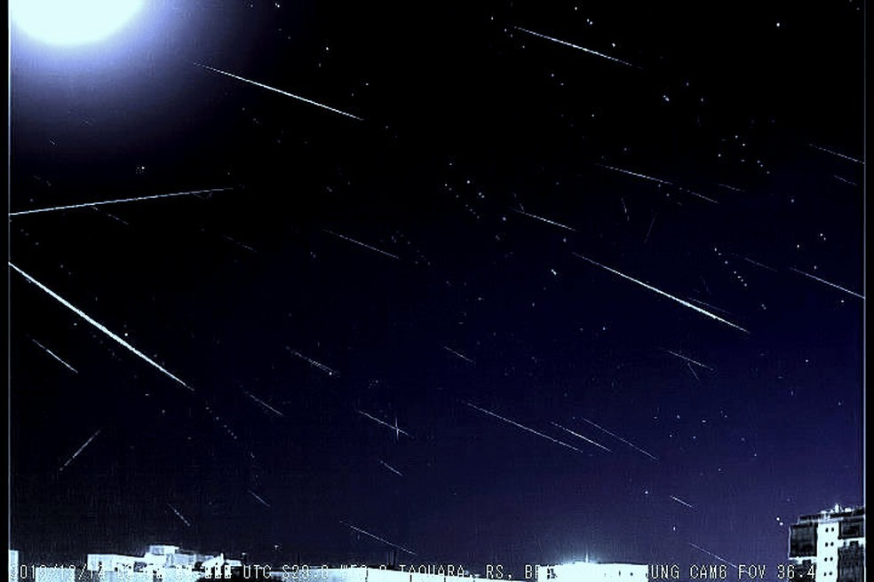 Chuva de meteoros é registrada em Taquara em dezembro do ano passado — Foto: Observatório Heller & Jung / Divulgação