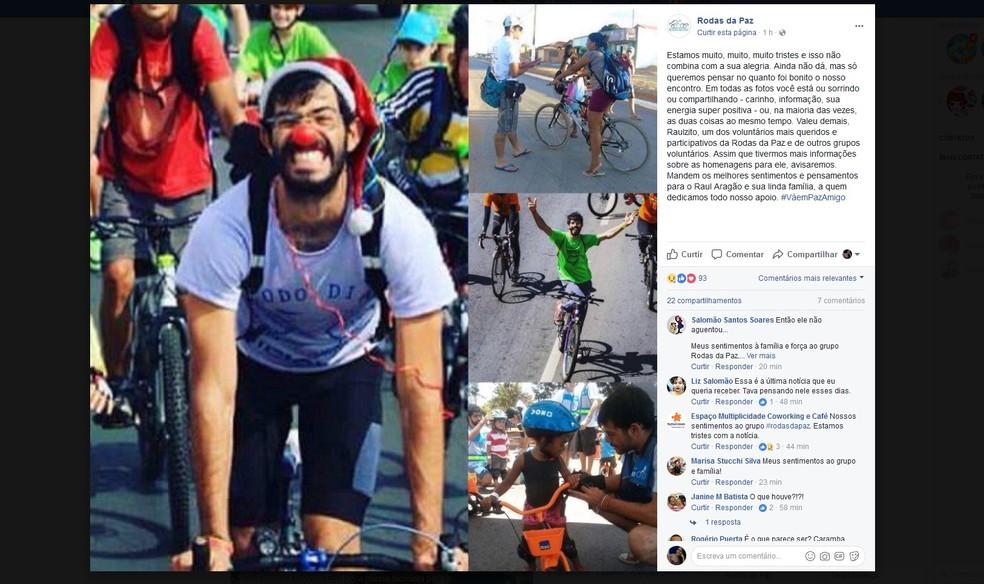 Homenagem a Raul Aragão, ciclista e voluntário da ONG Rodas da Paz, em redes sociais (Foto: Reprodução)