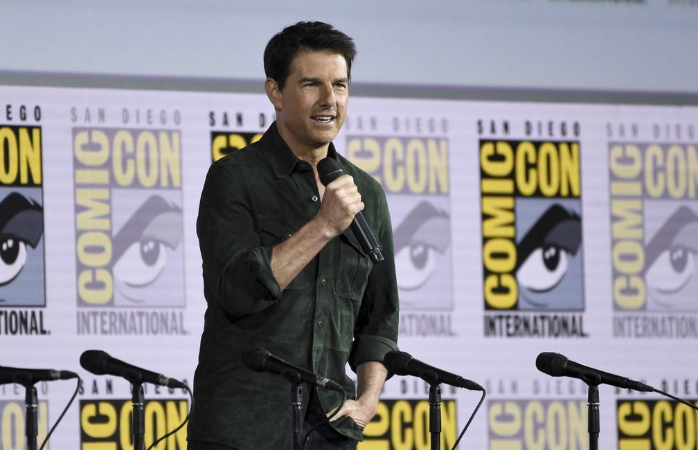 Tom Cruise apresentou o primeiro trailer de 'Top Gun: Maverick' na Comic-Con San Diego nesta quinta (18) — Foto: Chris Pizzello/AP