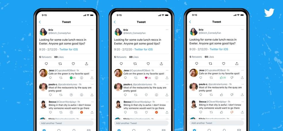 Botão de 'reprovar' no Twitter pode aparecer com diversas aparências — Foto: Reprodução/Twitter