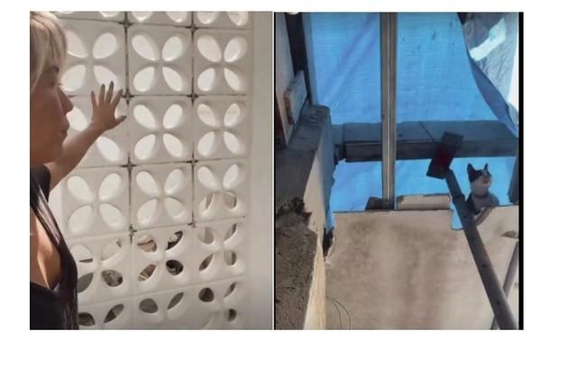Suzuki mostra a parte de sua casa que quase cedeu: 'O peso do armário podia fazer o segundo andar cair' (Foto: Reprodução)
