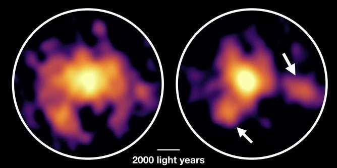 Setas indicam as duas nuvens instáveis da galáxia COSMOS-AzTEC-1 (Foto: ESO/NAOJ/NRAO/Tadaki)