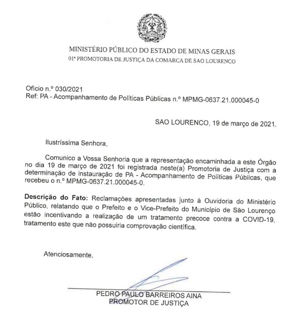 Ministério Público abre procedimento para investigar 'tratamento precoce' em São Lourenço  — Foto: Reprodução