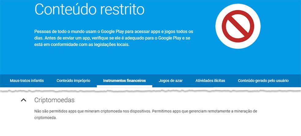 Trecho da política de conteúdo restrito do Google destacando a proibição da mineração de criptomoedas (Foto: Reprodução)