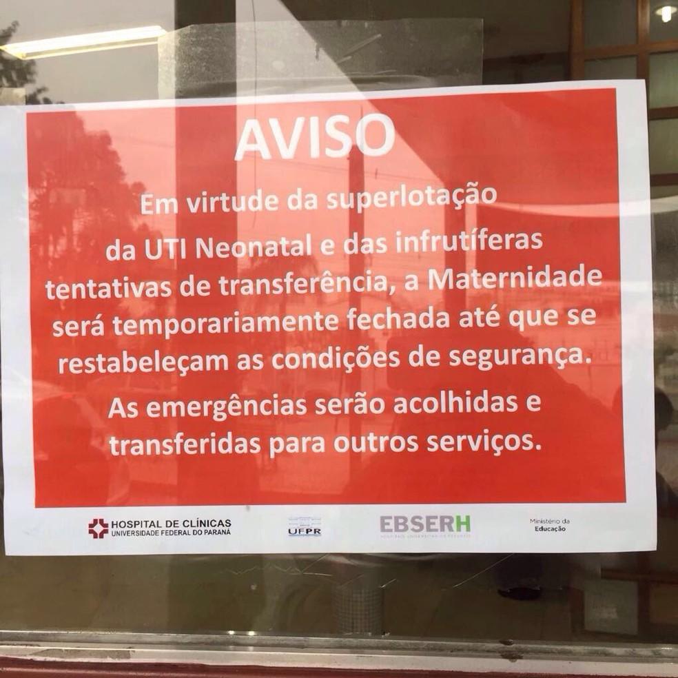 Hospital anunciou o fechamento nesta quinta-feira (Foto: Lima Hamdar/RPC)