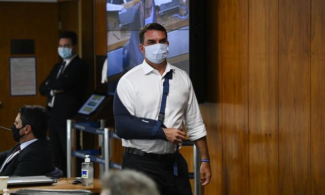 Flavio Bolsonaro na CPI da Covid