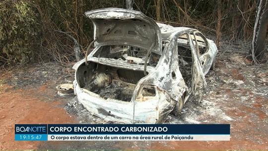 Corpo é encontrado dentro do porta-malas de carro carbonizado, em Paiçandu
